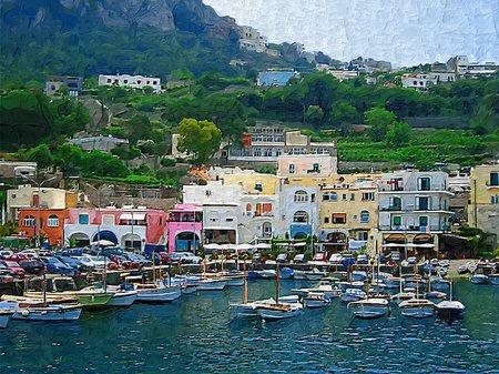 イタリア_カプリ島マリーナグランデの港(油絵風)