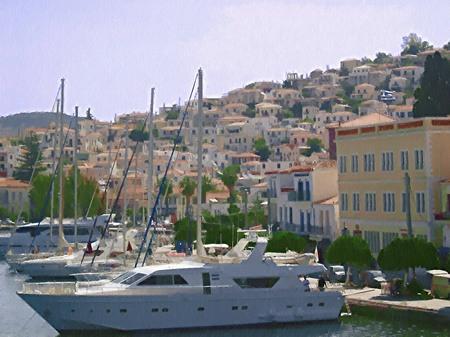 ギリシャ_エーゲ海ポロス島の家並み(油絵風)