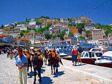 ギリシャ_イドラ島へ(油絵風)