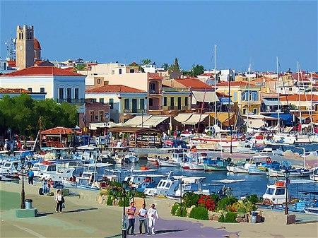 ギリシャ_エギナ島の港(ガッシュ風)