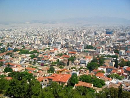 ギリシャ_丘の上から望むアテネの街並み