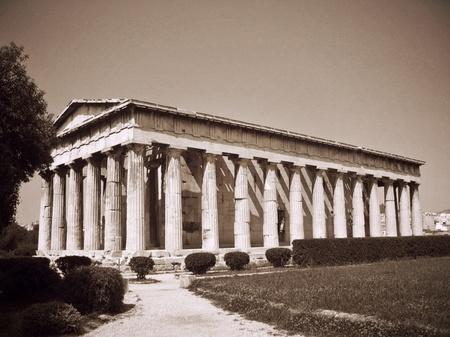 アテネ_古代アゴラの遺跡(セピア調)