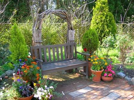 くじゅう花公園のベンチ