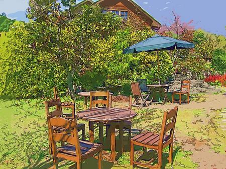 くじゅう花公園のテーブル(コラージュ風)