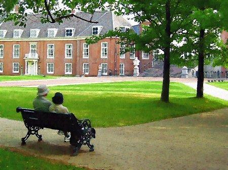初夏のパレスハウステンボス前庭(油絵風)