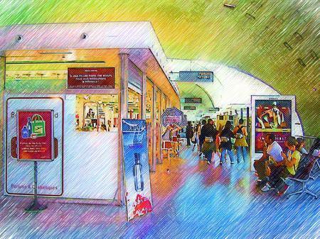 シャルル・ド・ゴール空港(色鉛筆画風)