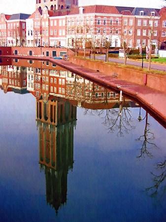 ハウステンボス_朝の運河に映るドムトールン(油絵風)