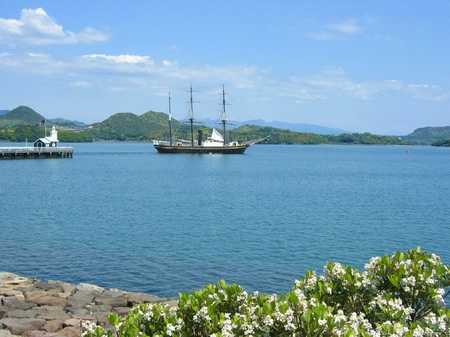 大村湾と帆船観光丸