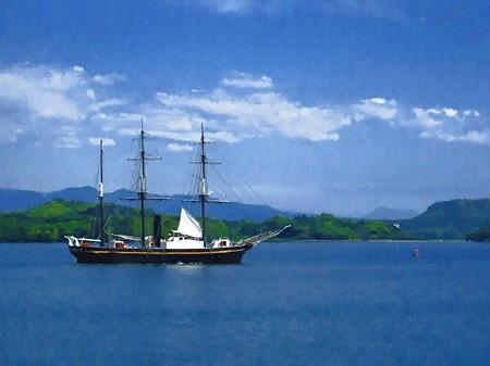 大村湾と帆船観光丸(油絵風)