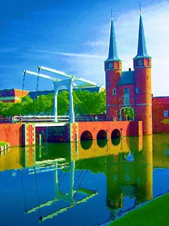 ハウステンボス_デルフト橋とシティゲートデルフト(エアブラシ風)