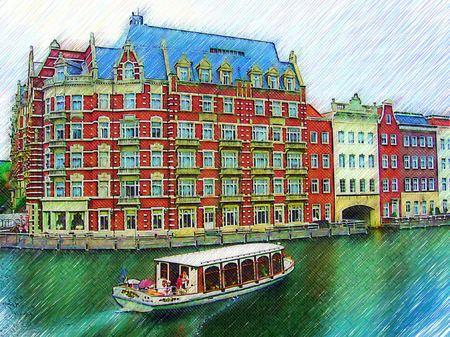 ハウステンボス_ホテルヨーロッパ(色鉛筆風)