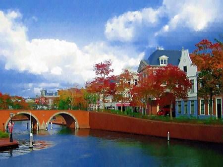 ハウステンボスの街並みとトールン橋(油絵風)