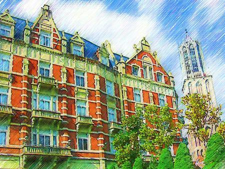 ハウステンボス_ホテルヨーロッパとドムトールン(色鉛筆画風)