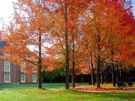 パレスハウステンボス前庭の紅葉(油絵風)