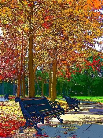 パレスハウステンボス前庭の紅葉(コラージュ風)