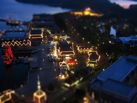 ハウステンボスの夜景_ジオラマ風