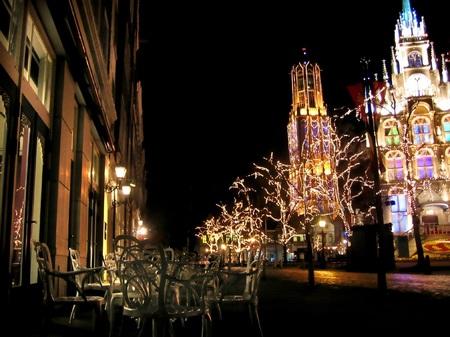 ハウステンボス_「ア クールヴェール カフェ」前からの夜景