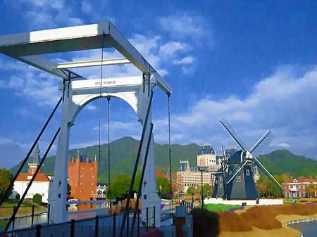 ハウステンボス_デルフト橋と風車(油絵風)