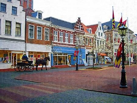 ハウステンボスの街を走る馬車(油絵風)