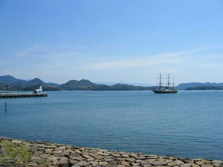 ハウステンボス_大村湾と帆船「観光丸」
