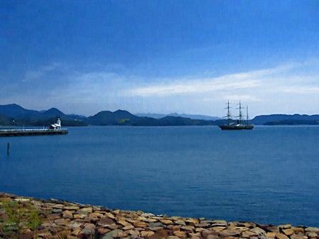 ハウステンボス_大村湾と帆船「観光丸」(油絵風)