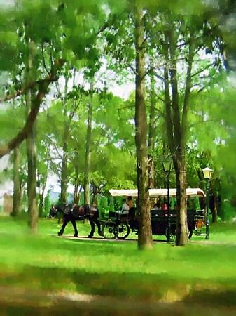 ハウステンボス_木立の中を通る馬車(油絵風)