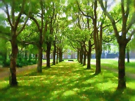 ハウステンボス_パレス前庭の新緑(油絵風)