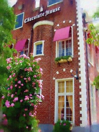 ハウステンボス_チョコレートハウスとバラ(油絵風)