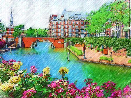 花と運河の街ハウステンボス(色鉛筆画風)