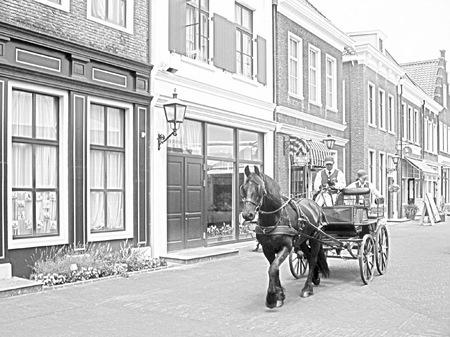 ハウステンボス_ブリューゲル通りの馬車(鉛筆画風)