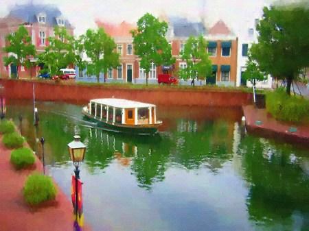ハウステンボス_シンゲル運河のカナルクルーザー(油絵風)