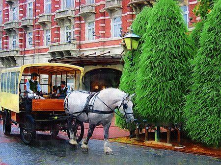 ハウステンボス_ホテルヨーロッパ前の馬車(油絵風)