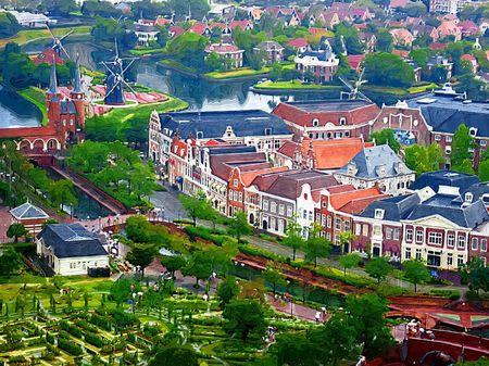 ハウステンボス_ドムトールンから見る街並み(油絵風)