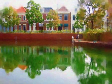 ハウステンボス_ユトレヒトの運河テラスにて(油絵風)