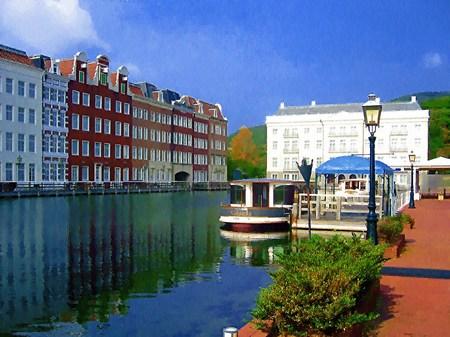 ハウステンボス_運河テラスから見るホテルヨーロッパ(油絵風)