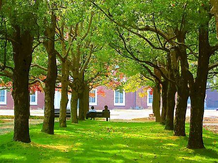 ハウステンボス_色づくパレス前庭の木々(ガッシュ風)