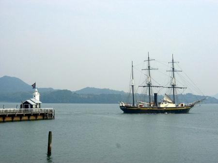 ハウステンボス_灯台と帆船「観光丸」