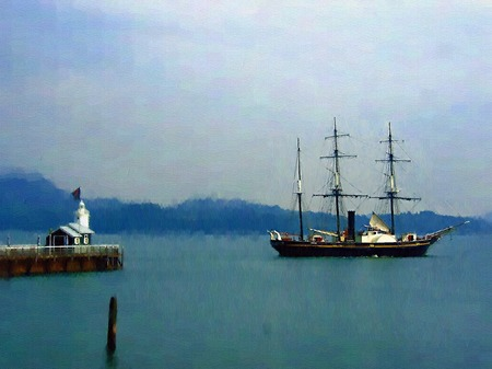 ハウステンボス_灯台と帆船「観光丸」(油絵風)