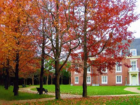 ハウステンボス_パレス前庭の紅葉(油絵風)