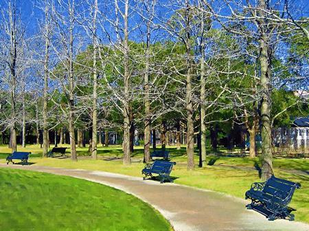 ハウステンボス_パレス前庭の冬木立(油絵風)