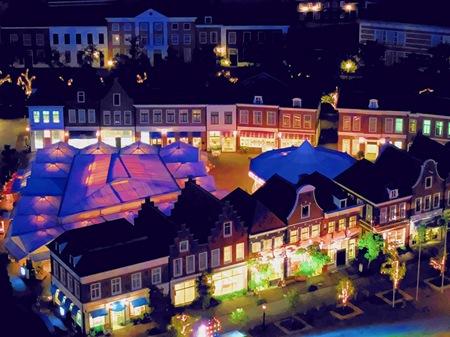 ハウステンボス_ドムトールンからの夜景(水彩画風)