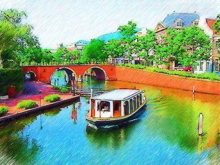 ハウステンボス_トールン橋とカナルクルーザー(色鉛筆画風)