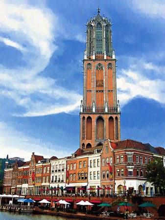 ハウステンボス_ユトレヒトの街を望む(油絵風)