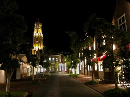 ハウステンボス_ビネンスタッドの街角の夜景
