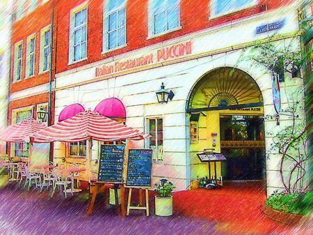 ハウステンボス_イタリアンレストラン「プッチーニ」(色鉛筆画風)