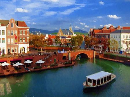 ハウステンボス_シンゲル橋付近の眺め(油絵風)