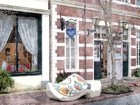 ハウステンボス_オランダ民芸品の店「ホーランドハウス」(水彩画風)