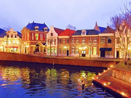ハウステンボス_シンゲル橋からの夕景(水彩画風)