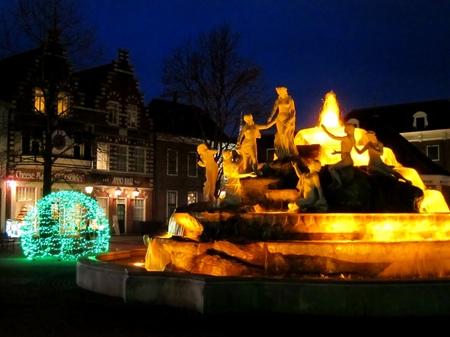ハウステンボス_マウリッツの泉(夜景)