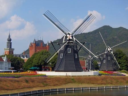 ハウステンボス_キンデルダイクの三連風車